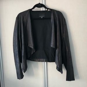 Cynthia Rowley faux leather cropped jacket